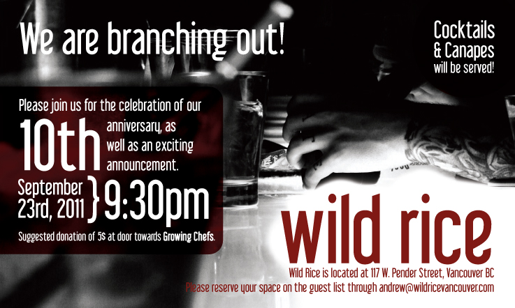 Wild Rice | Anniversary Party Invite Pender, Vancouver