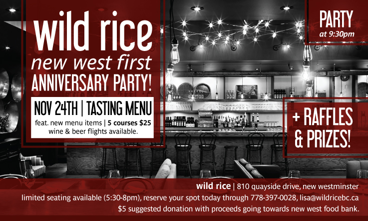 Wild Rice | Anniversary Party Invites New Westminster