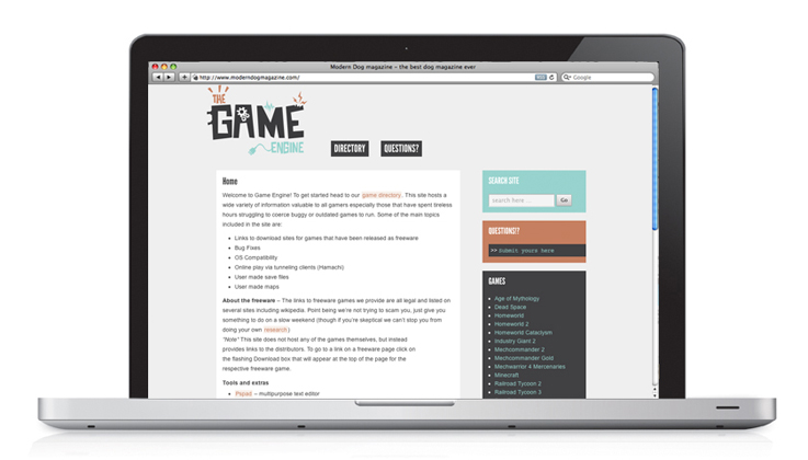 The Game Engine | Homepage Design