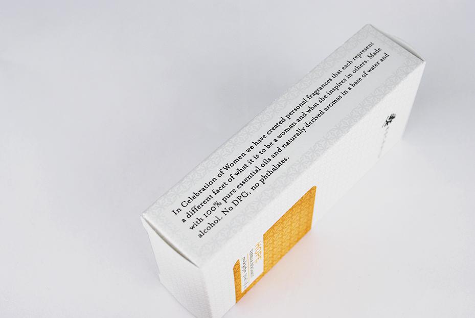 Eau De Parfum Box Detail for Escents Aromatherapy | www.alicia-carvalho.com