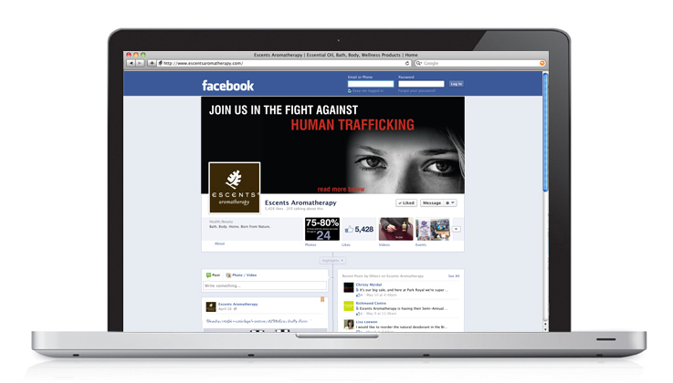 Human Trafficking Campaign for Escents Aromatherapy, Social Media Page Facebook | www.alicia-carvalho.com