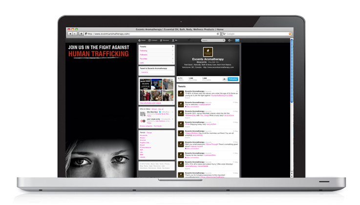 Human Trafficking Campaign for Escents Aromatherapy, Social Media Page Twitter | www.alicia-carvalho.com