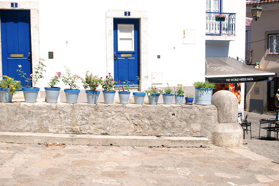 Flower pots and iconic blue and white houses of Portugal | www.alicia-carvalho.com/blog