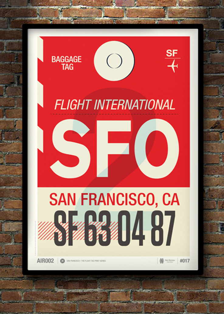 Neil Stevens Flight Tag Posters: San Francisco | www.alicia-carvalho.com