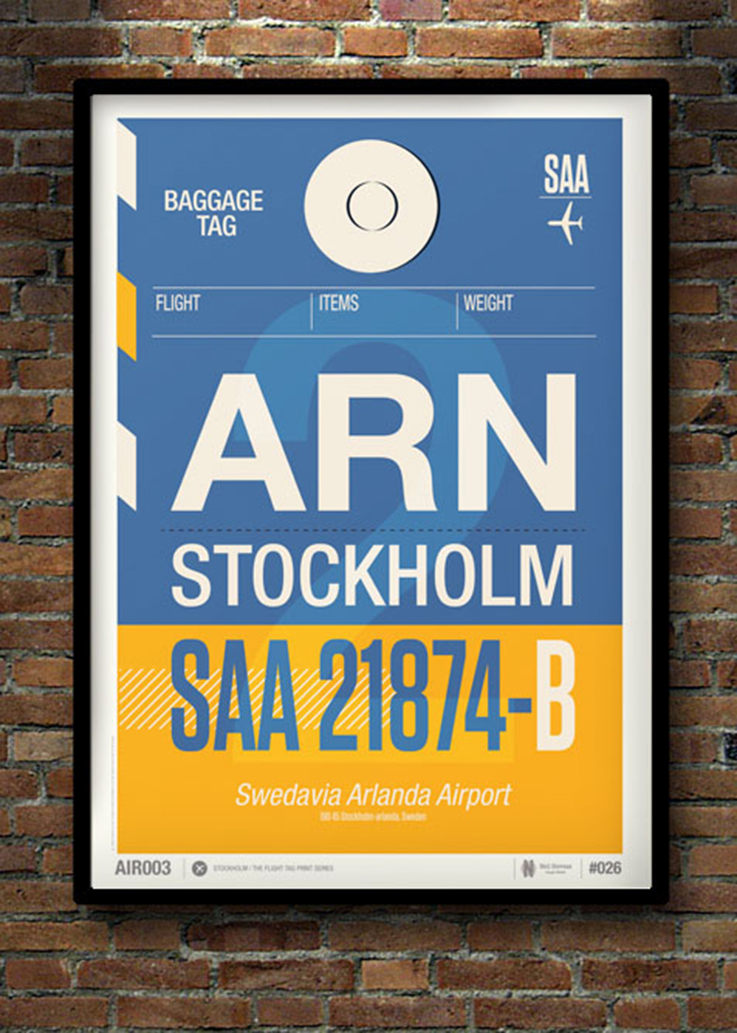 Neil Stevens Flight Tag Posters: Stockholm | www.alicia-carvalho.com