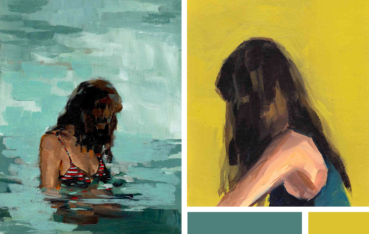 I love water prints. These two especially speak to me, I almost feel like I can relate to the girl in the painting. I do have the same hair style :) paintings by Clare Elsaesser | www.alicia-carvalho.com/blog