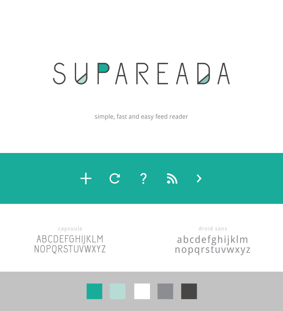 supaReada Branding. Simple, fast and easy feed reader for android. Designed by Alicia Carvalho, Developed by Print and Pixel | www.alicia-carvalho.com