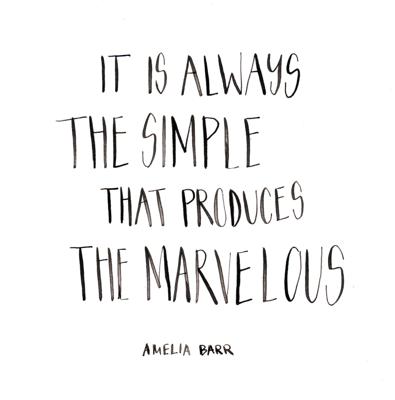 It is always the simple that produces the marvellous. Amelia Barr. Custom Type by Alicia Carvalho | www.alicia-carvalho.com