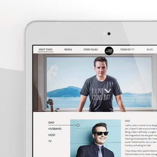 Web site design and layout for Vancouver based Tv personality Todd Talbot