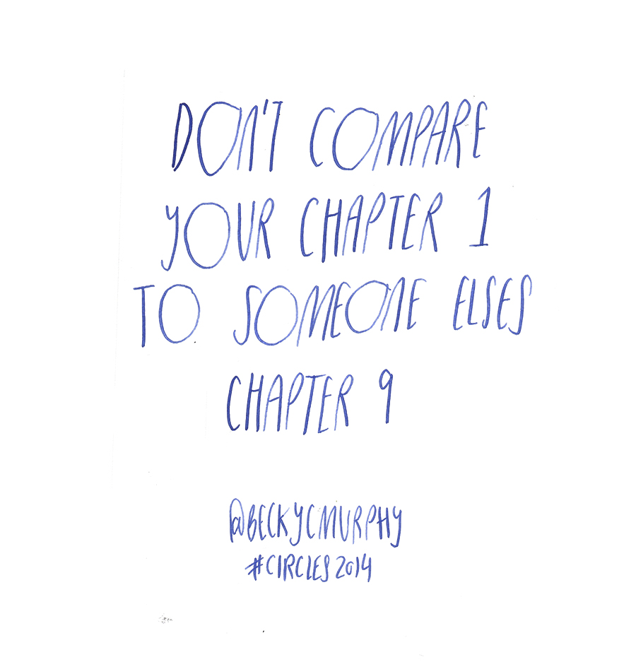 Don't compare your chapter one to someone elses chapter 9 - Becky Murphy @beckycmurphy quote from #circles2014 | type by alicia-carvalho.com