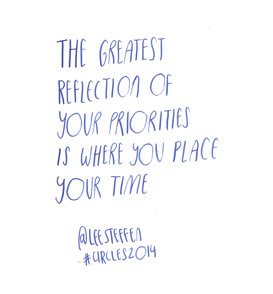 The greatest reflection of your priorities is where you place your time - Lee Steffen @leesteffen quote from #circles2014 | type by alicia-carvalho.com