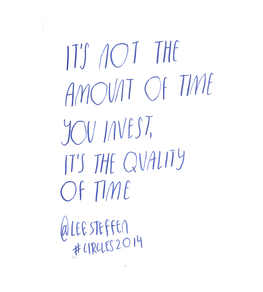 It's not the amoount of time you invest, it's the quality of time -  Lee Steffen @leesteffen quote from #circles2014  | type by alicia-carvalho.com