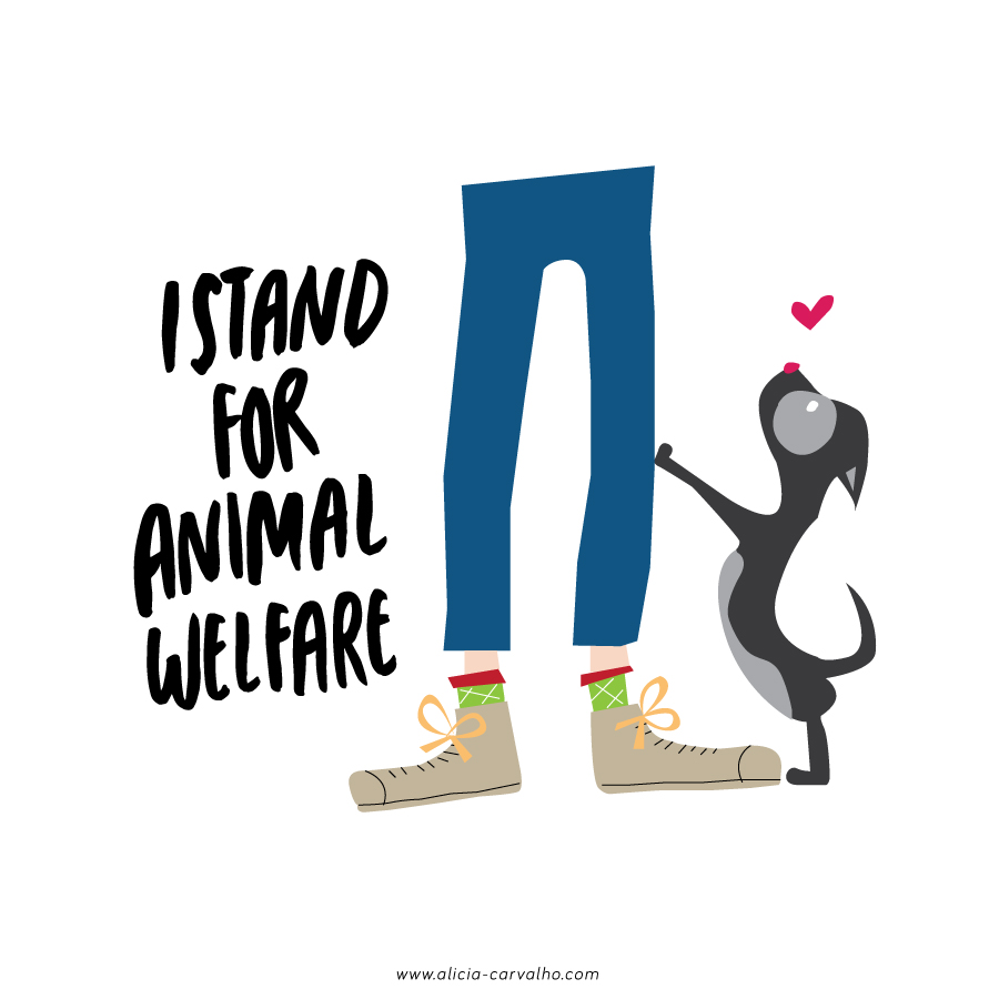 """I stand for Animal Welfare"" Animal Welfare T-Shirt Concept for Paws for Hope. www.alicia-carvalho.com/blog"