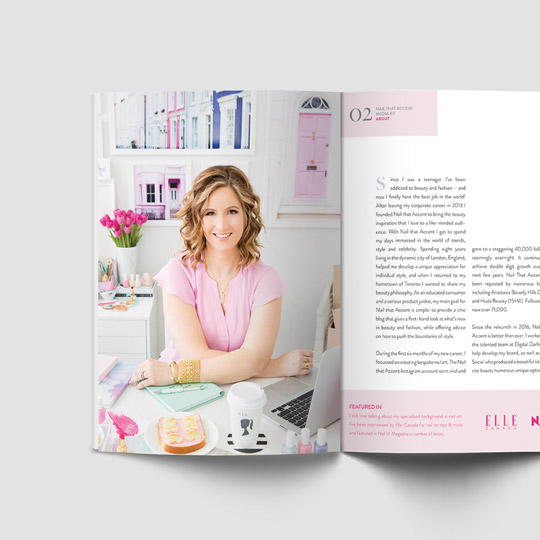 Media kit design and layout for beauty and lifestyle blogger Nail That Accent