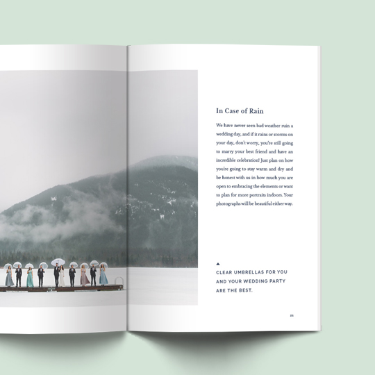 Wedding planning magazine design and layout for Vancouver based photographer