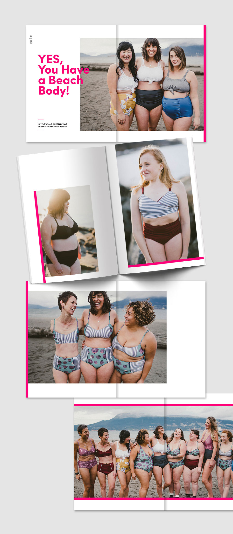FLURT Magazine print design and editorial layout. Nettle's tale Beach Body editorial feature.    www.alicia-carvalho.com