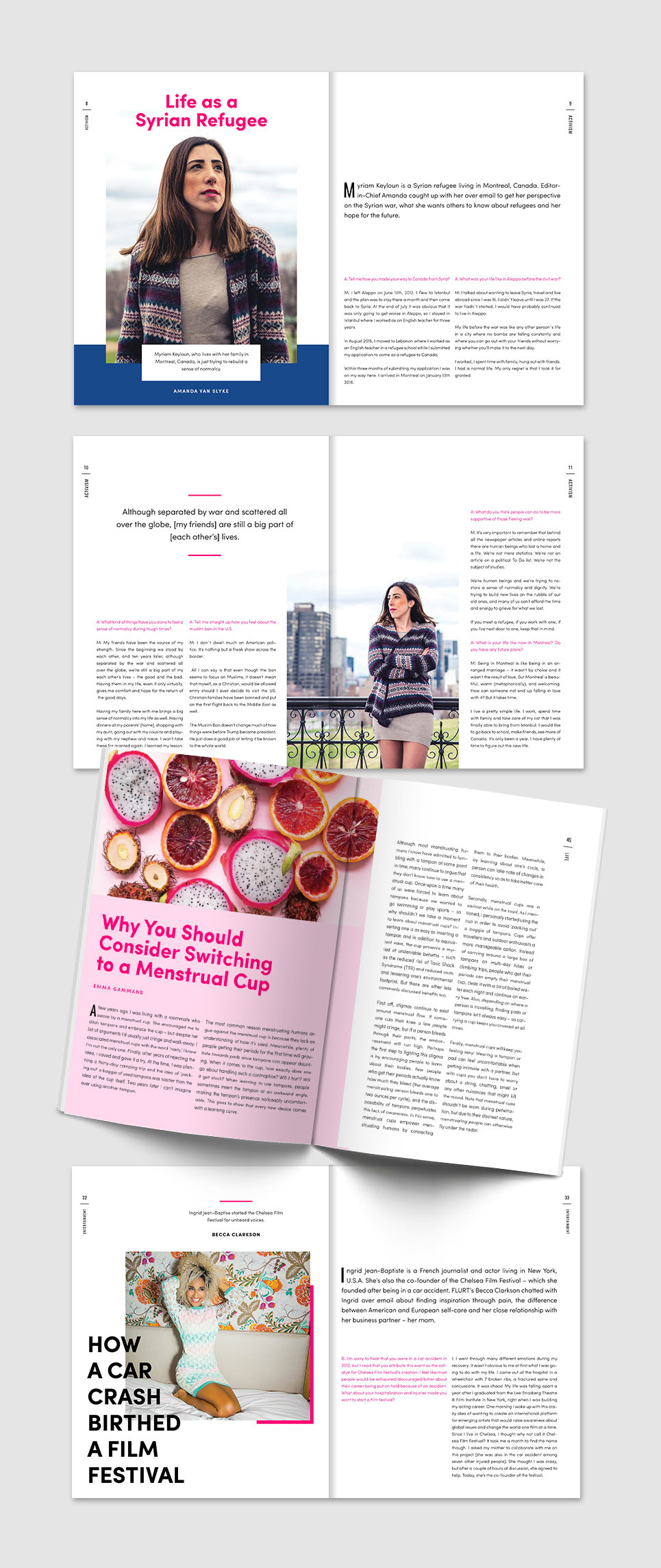 FLURT Magazine print design and editorial layout. Article Intro page designs.    www.alicia-carvalho.com