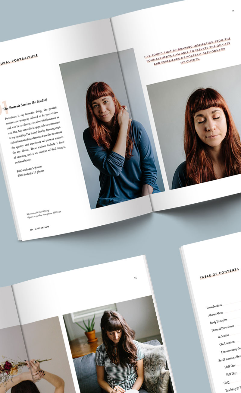 Mini Magazine Layout Design for Alexa Mazzarello Photography