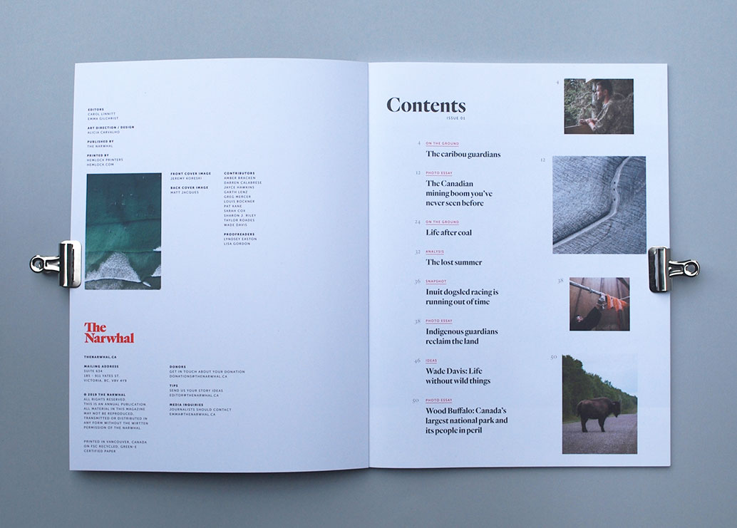 The Narwhal Magazine, Table Of Contents for print layout design | www.alicia-carvalho.com