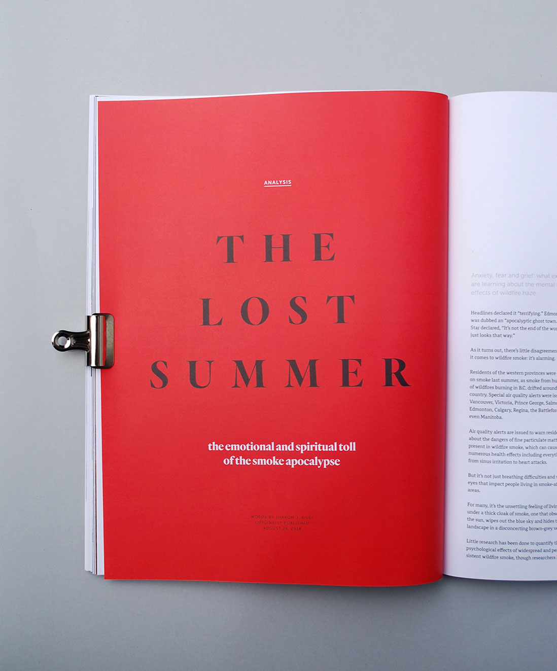 The Narwhal Magazine, full-colour red introduction spread, editorial design, The Lost Summer | www.alicia-carvalho.com