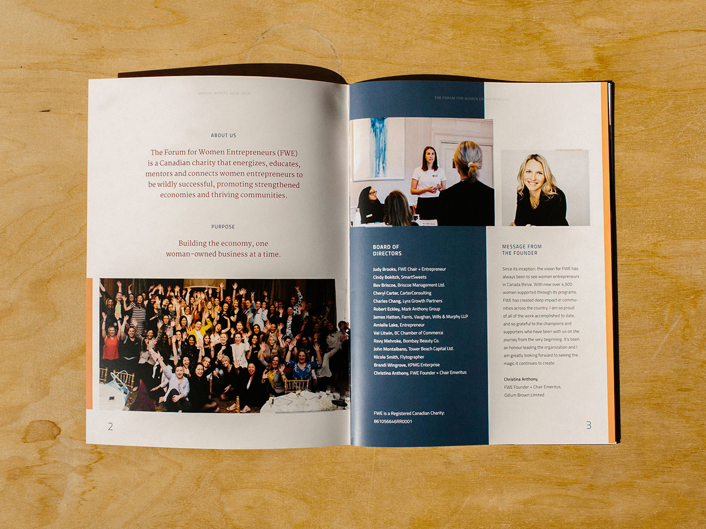 Forum for Women Entrepreneurs (FWE) layout and graphic design for printed Annual Report   www.alicia-carvalho.com