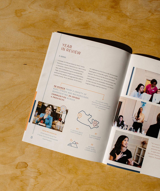 Forum for Women Entrepreneurs (FWE) stats and infographic design for Annual Report   www.alicia-carvalho.com