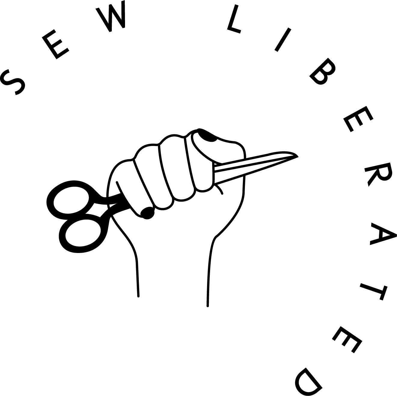 New logo design for Sew Liberated featuring a logo mark illustration by Angie Coates | www.alicia-carvalho.com