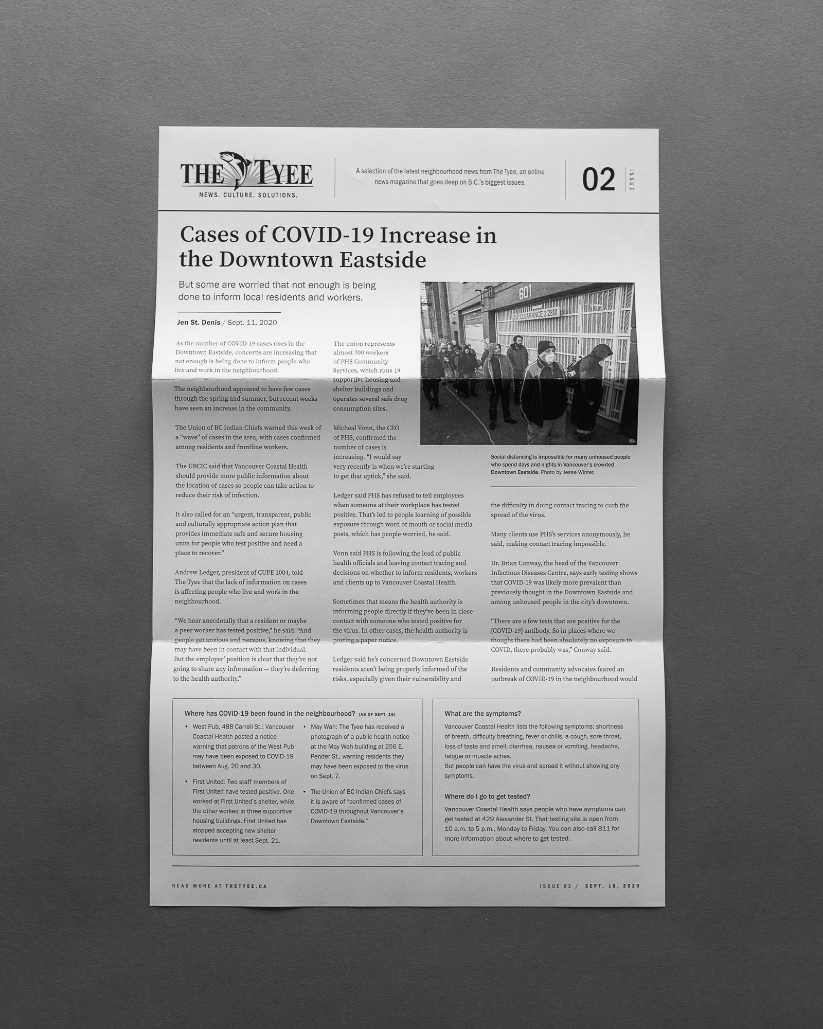 The Tyee: going deep on BC's biggest issues. Printed layout design for DTES newspaper  | www.alicia-carvalho.com