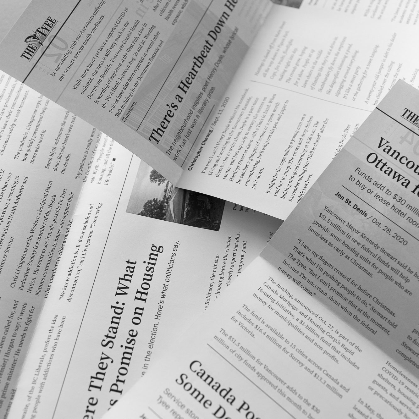 Various printed issues of the Tyee's DTES newsletter. Editorial Layout Design | www.alicia-carvalho.com