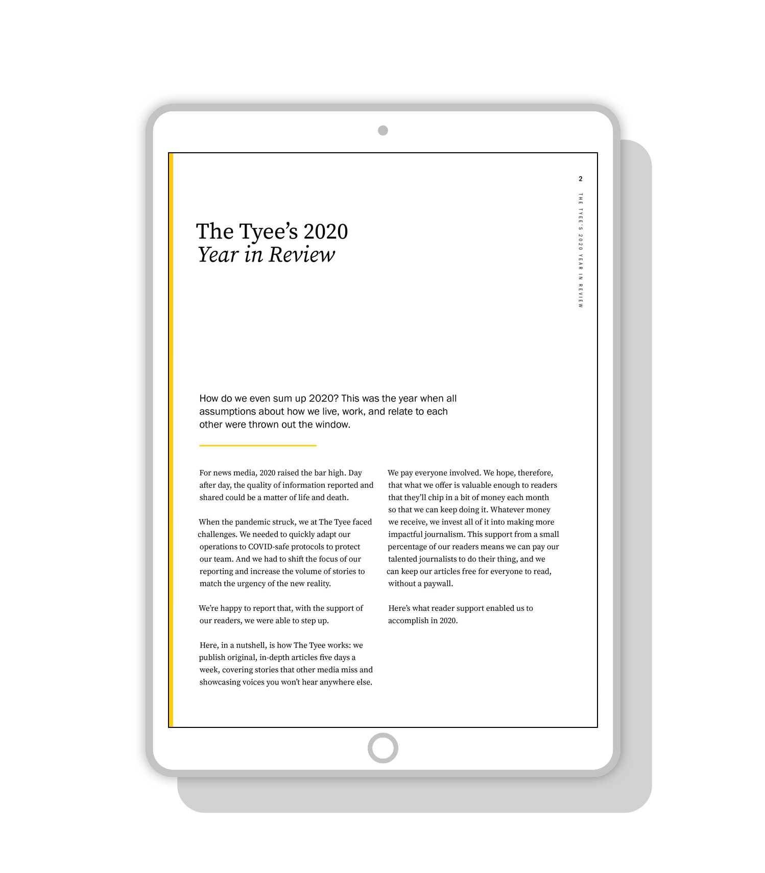Layout Design for The Tyee 2020 digital Annual Report | by www.alicia-carvalho.com